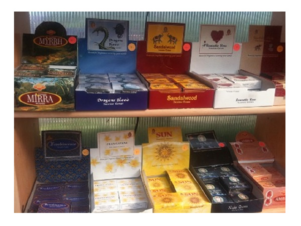 Many types of naturally scented incense, from Amber to Sandlewood, with everything in between